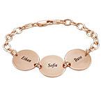 Cadeau Spécial Maman - Bracelet Disque Prénom en Plaqué Or Rose 18 cts
