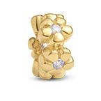 Charm Fleurs en plaqué or avec Zircons