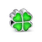 Charm Trèfle vert en Argent