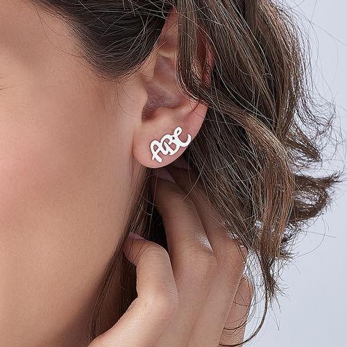Clous d'oreilles trigramme en argent - 2