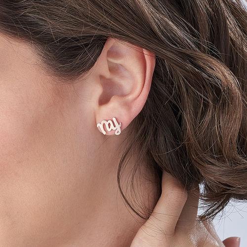 Clous d'oreilles trigramme en plaqué or rose 18 carats - 2