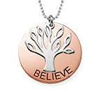 Collection Yoga - Collier Arbre de famille Plaqué Or Rose