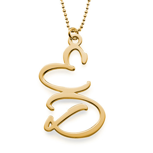 Collier 2 Initiales plaqué or 18cts - 1