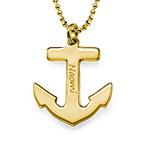 Collier Ancre Marine Personnalisée en Plaqué Or 18ct