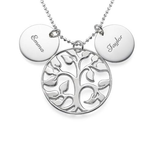 Collier Arbre de Vie ajouré avec médailles personnalisées en argent