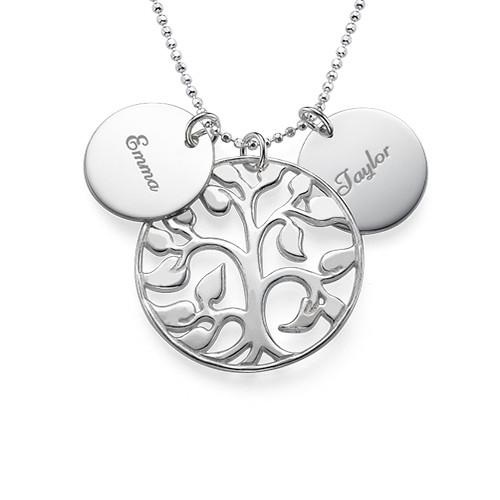 Collier Arbre de Vie ajouré avec médailles personnalisées en argent - 1