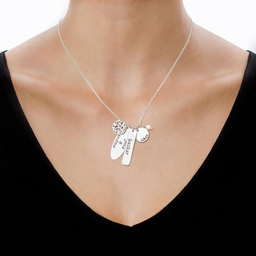 Collier Arbre de Vie avec pendentifs personnalisés en argent 925 - 1