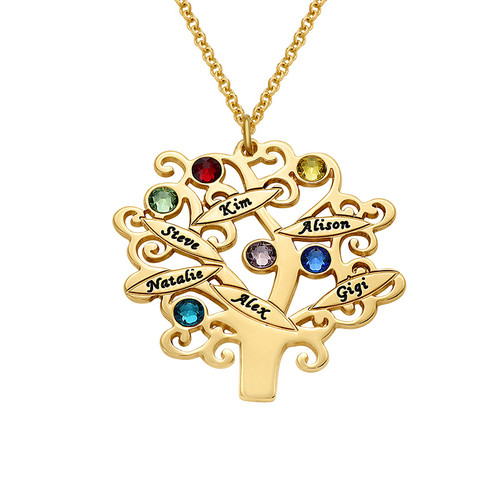 Collier Arbre de Vie avec pierres de naissance en plaqué or