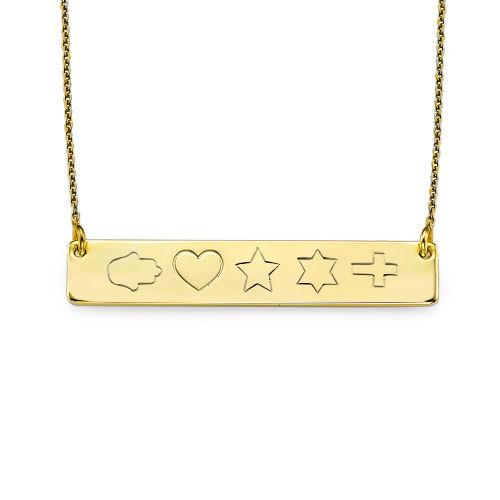 Collier Plaque en plaqué or personnalisé avec  symboles - 2