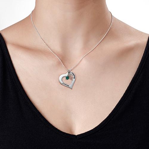Collier Cœur ajouré avec pierres de naissance - 1