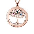 Collier Cercle Arbre de vie avec pierres de naissance en plaqué or rose