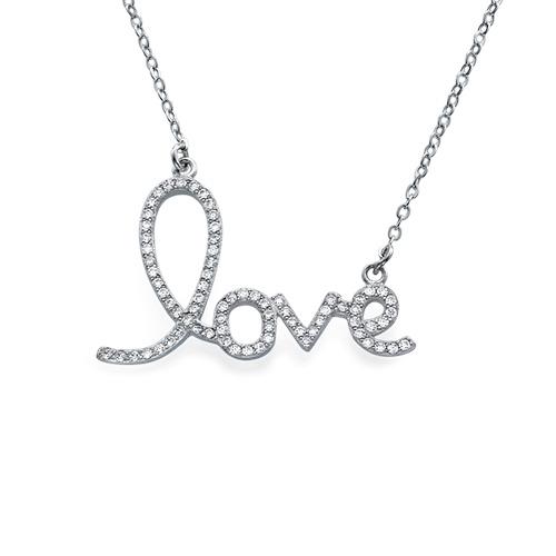 Collier Cubique Zirconium pendentif LOVE