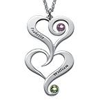 Collier Double Cœur avec pierres de naissance