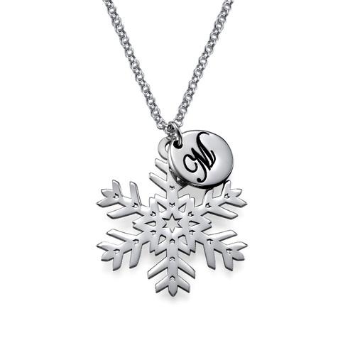Collier Flocon de neige avec pendentif Initiale