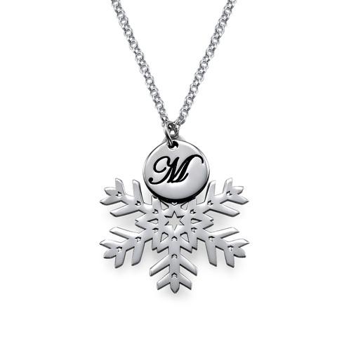 Collier Flocon de neige avec pendentif Initiale - 1