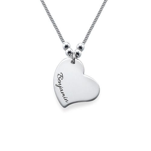 Collier Pendentif Coeur gravé - 1