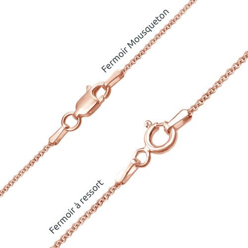 Collier Prénom Infini Vertical avec pierres de naissance en plaqué or Rose - 3