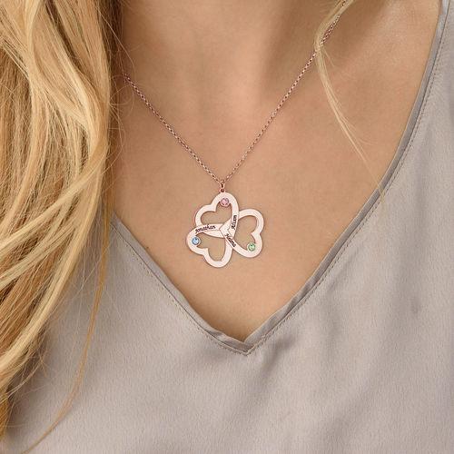 Collier Trois Cœurs personnalisé en Plaqué Or Rose - 3