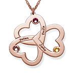 Collier Trois Cœurs personnalisé en Plaqué Or Rose