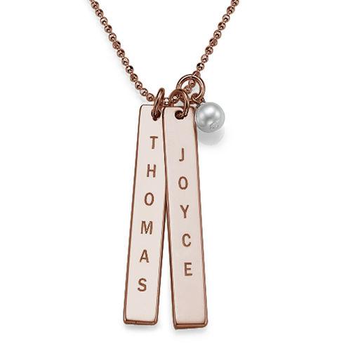 Collier à étiquette nom gravé avec perle d'eau douce - Or rose plaqué