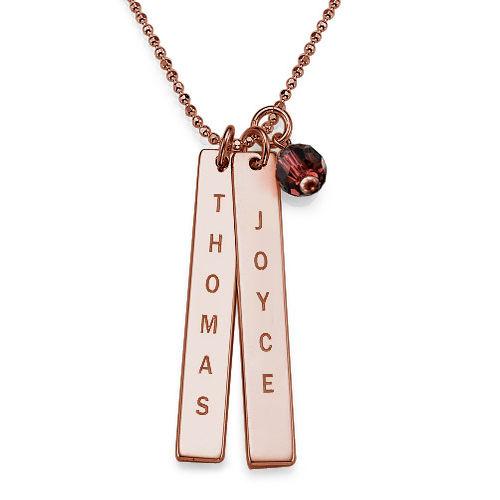 Collier à étiquette nom gravé avec perle d'eau douce - Or rose plaqué - 1