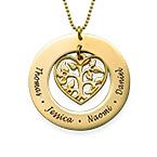 Collier arbre de vie en cœur en or 10 cts