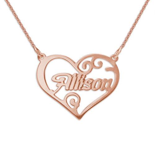 Collier Coeur Personnalisé avec Prénom en Plaqué Or Rose