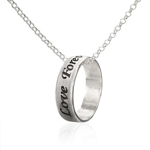 Collier avec pendentif anneau personnalisé en argent
