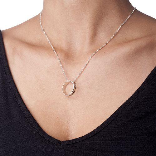 Collier avec pendentif anneau personnalisé en argent - 1