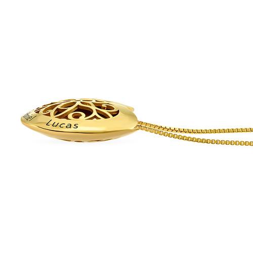 Collier cœur gravé en plaqué or - 1