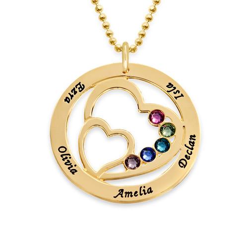 Collier cœurs entrelacés avec pierre de naissance - or jaune 10 carats