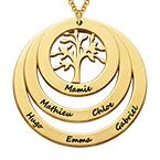 Collier cercles avec arbre de vie en plaqué or