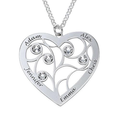 Collier cœur arbre de vie avec pierres de naissance en argent - 1