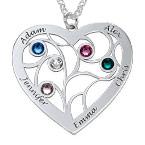Collier cœur arbre de vie avec pierres de naissance en argent