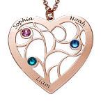 Collier cœur arbre de vie avec pierres de naissance en plaqué or rose