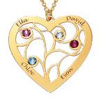 Collier cœur arbre de vie avec pierres de naissance en plaqué or