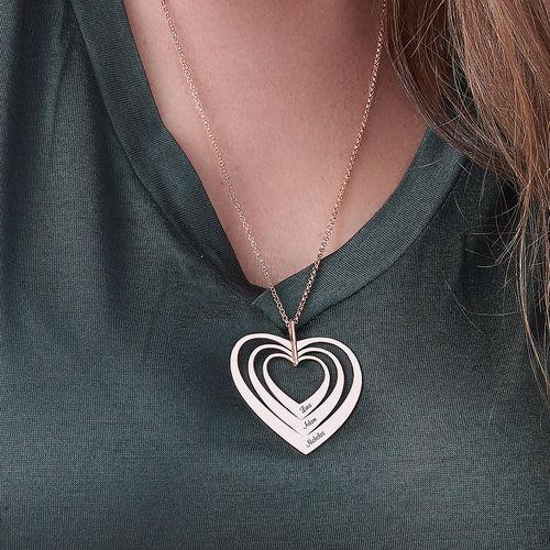 Collier cœurs de famille en plaqué or rose - 3