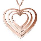 Collier cœurs de famille en plaqué or rose