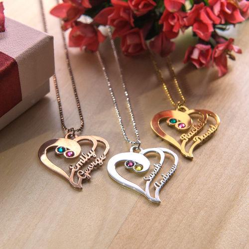 Collier d'amour deux cœurs en Plaqué Or Rose - 1