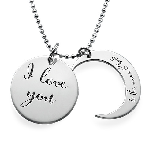 """Collier Déclaration """"I Love You to the Moon and Back"""" en Argent - 1"""