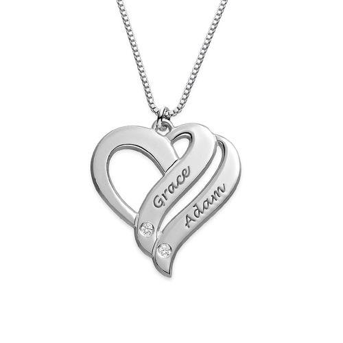 Collier en argent 925 avec diamant «Deux cœurs unis pour toujours»