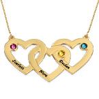 Collier en or 10 carats avec pierre de naissance et cœurs entrelacés