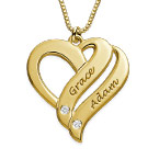 Collier en plaqué or 18ct avec diamant «Deux cœurs unis pour toujours»