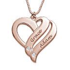 Collier en plaqué or rose 18ct avec diamant «Deux cœurs unis pour toujours»