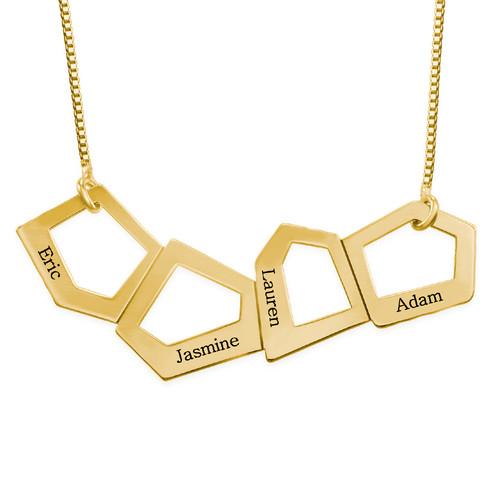 Collier maman géométrique gravé en plaqué or
