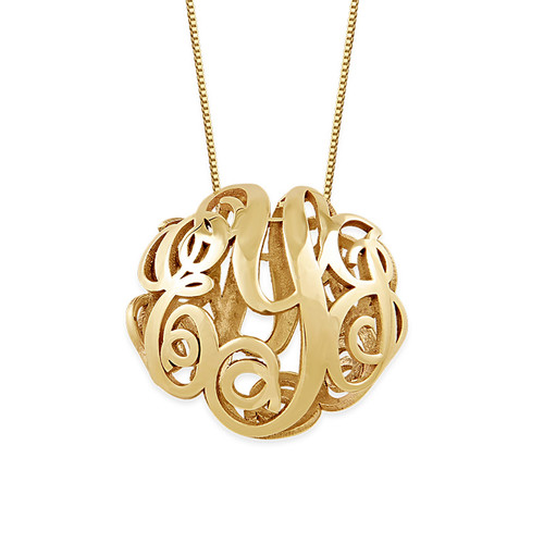 Collier monogramme en 3D en or jaune 14 carats