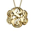 Collier monogramme en 3D en plaqué or