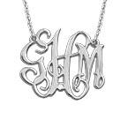 Collier monogramme en argent 925 avec diamant