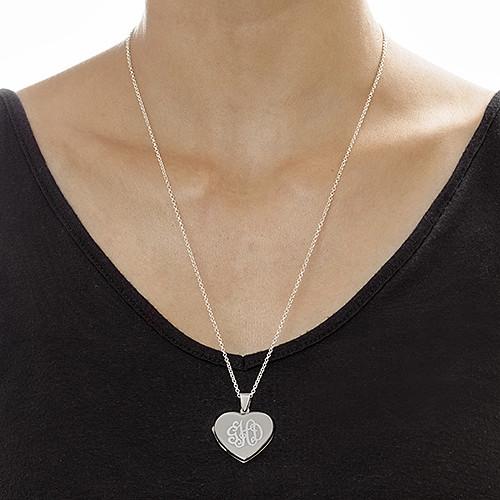 Collier pendentif Cœur porte-photo Monogramme en argent - 1