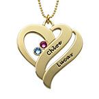 Collier pendentif coeur avec pierres de naissance - Or 10Cts